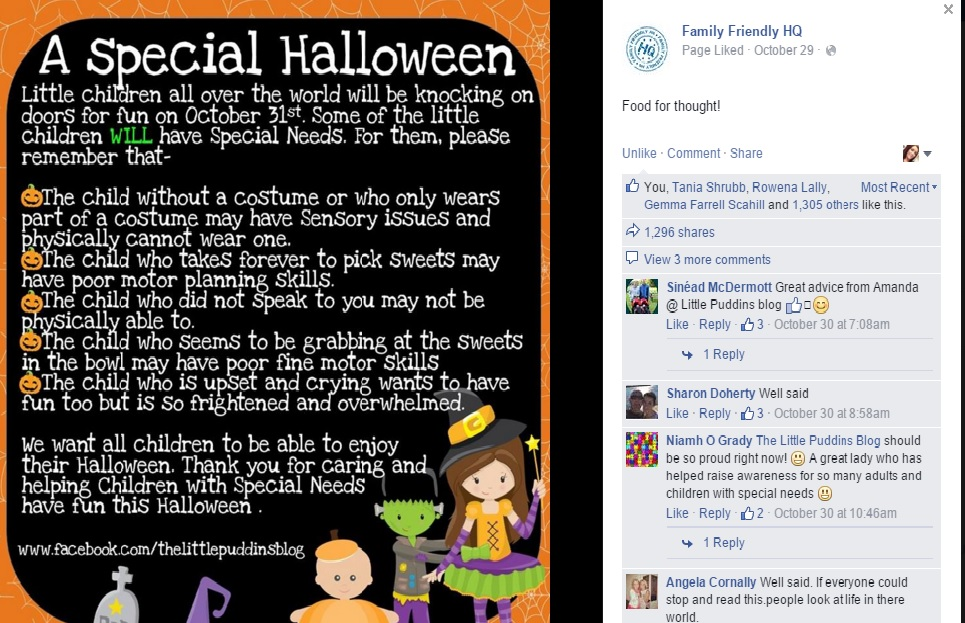A screen shot of Family Friendly HQ's Facebook page before Halloween.x