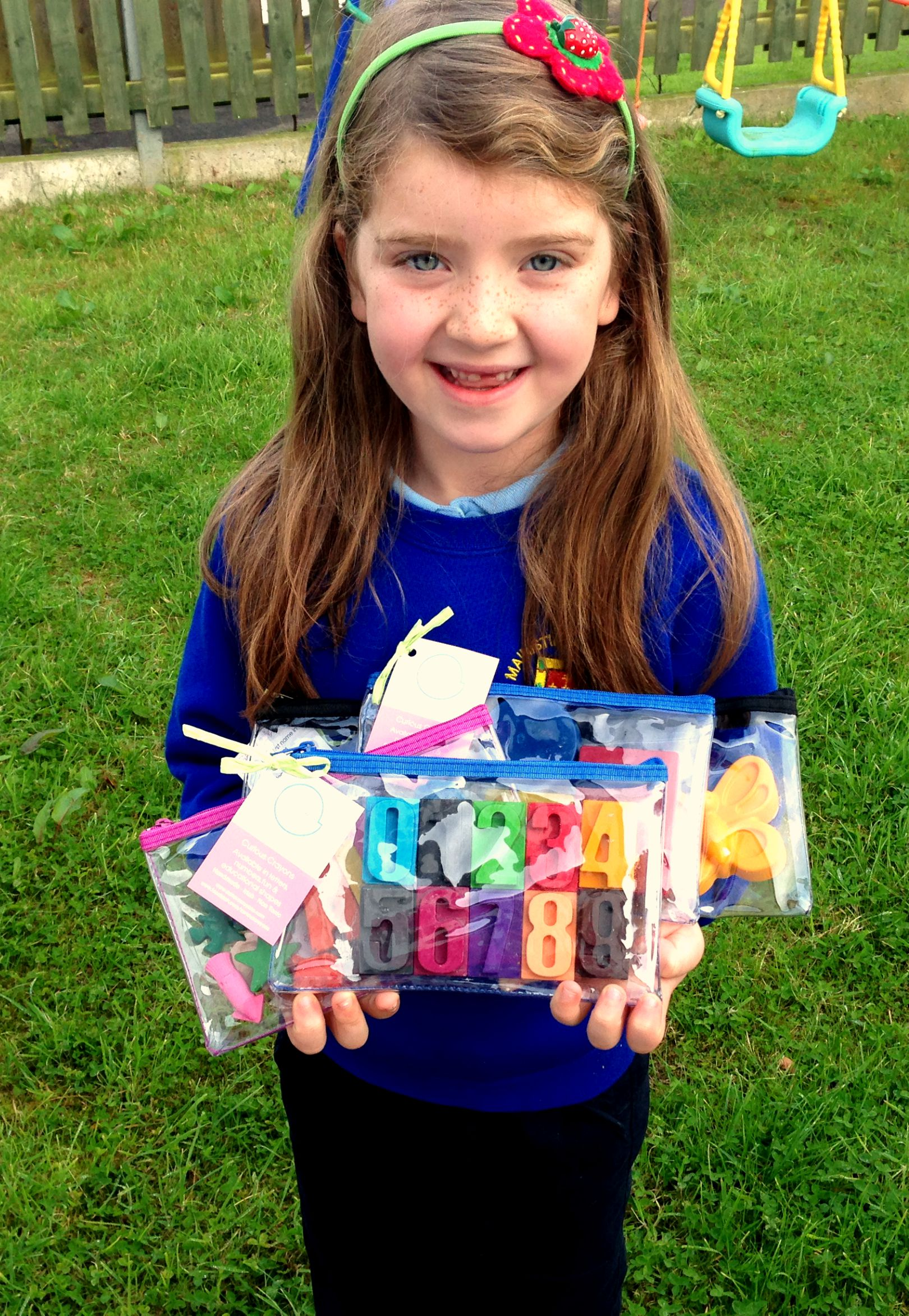 Hailey delighted when the Crayons arrived.x