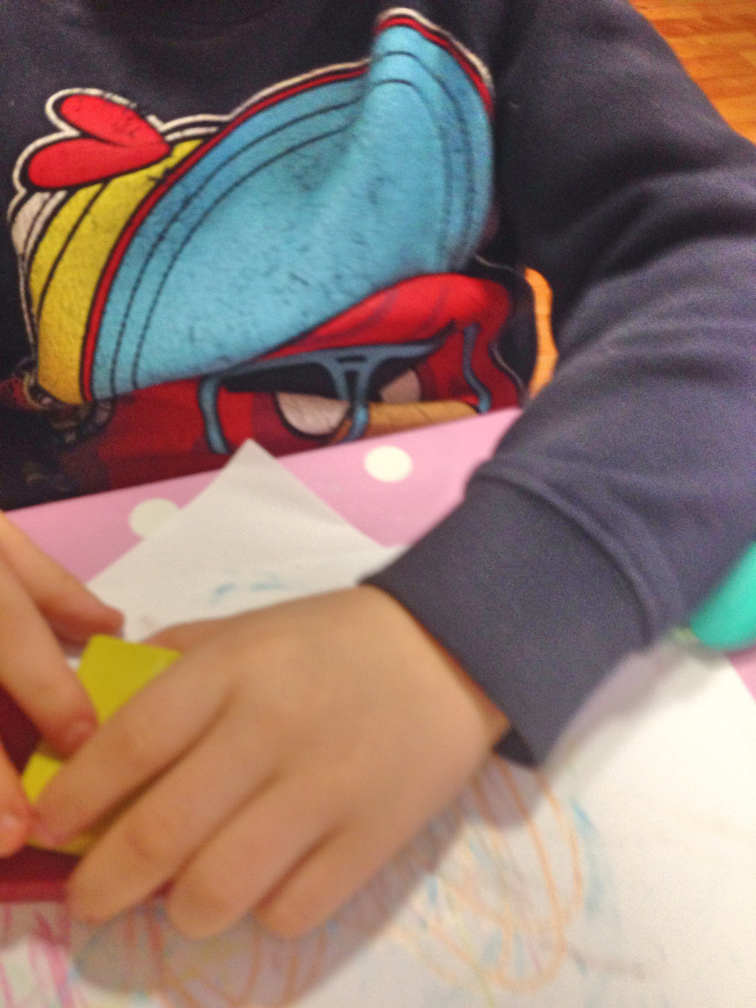 Holding the crayon using the Palmer Grasp.