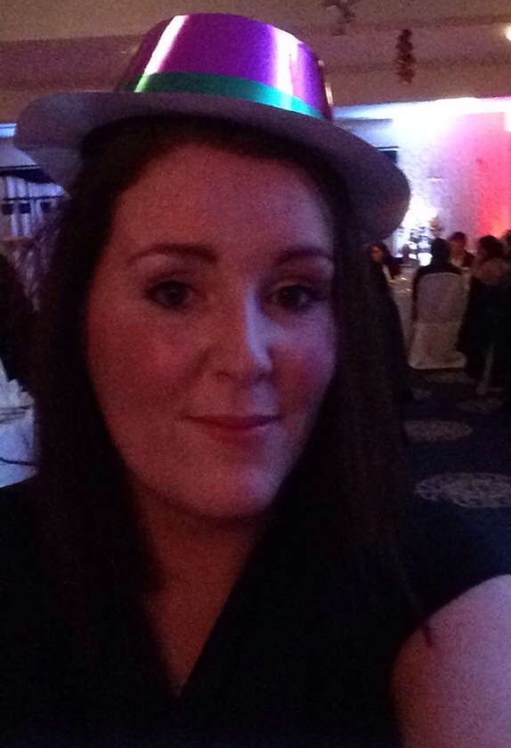 At the Mayo Autism Support Christmas Party with my party hat that won't fit my large head lol!