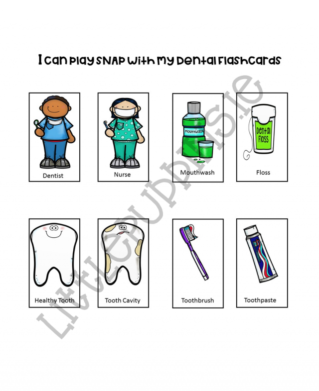 photo regarding Dental Health Printable Activities named Dental Physical fitness Matching Game Printable Small Puddins