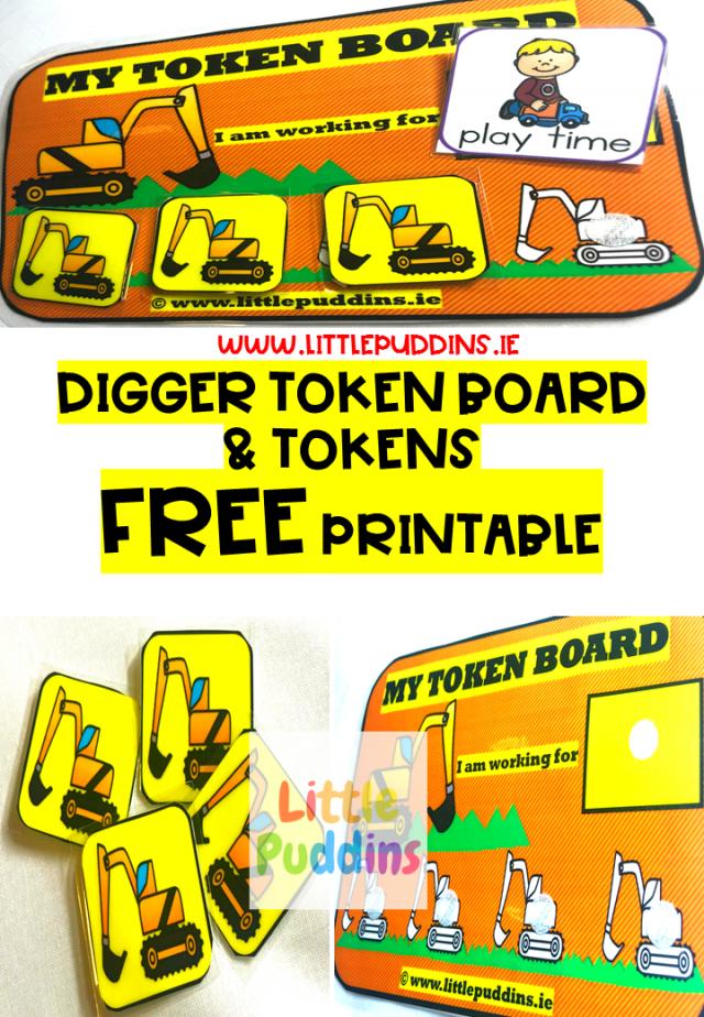 Digger Token Board Free Printable