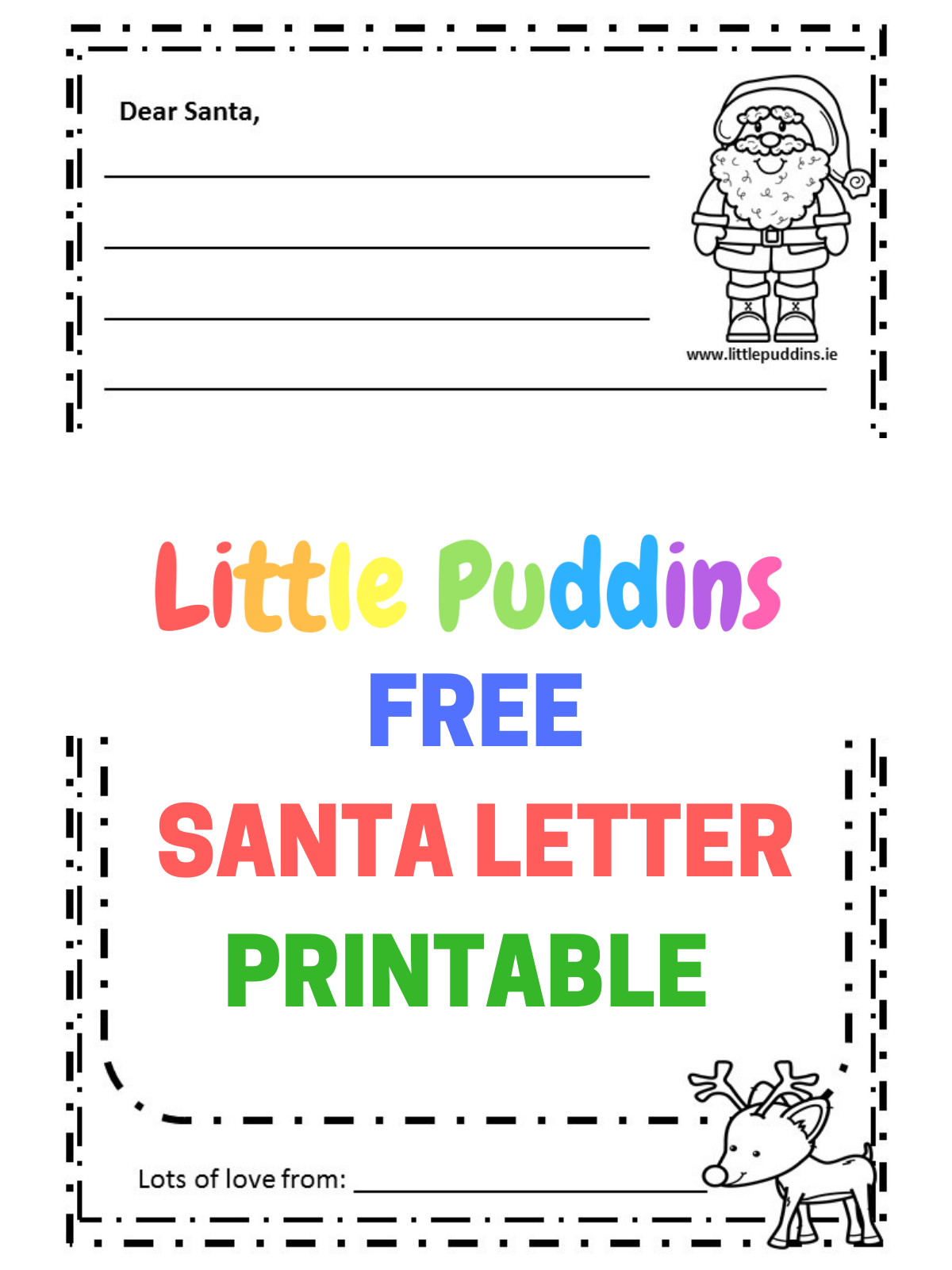 image regarding Santa Letters Printable referred to as Santa Letter Absolutely free Printable Minimal Puddins Free of charge Printables